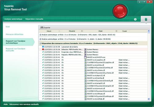 Capture d'écran Kaspersky Virus Removal Tool