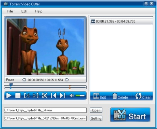 Capture d'écran Torrent Video Cutter