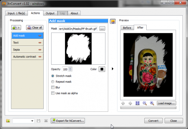 Capture d'écran XnConvert