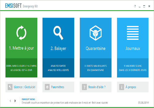 Capture d'écran Emsisoft Free Emergency Kit