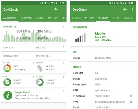 Capture d'écran DevCheck Hardware and System Info Android
