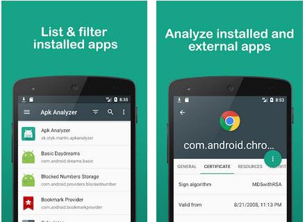 Capture d'écran APK Analyzer Android