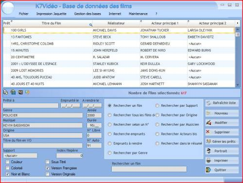 Capture d'écran K7video 10.0