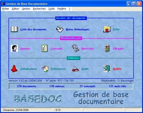 Capture d'écran BaseDoc