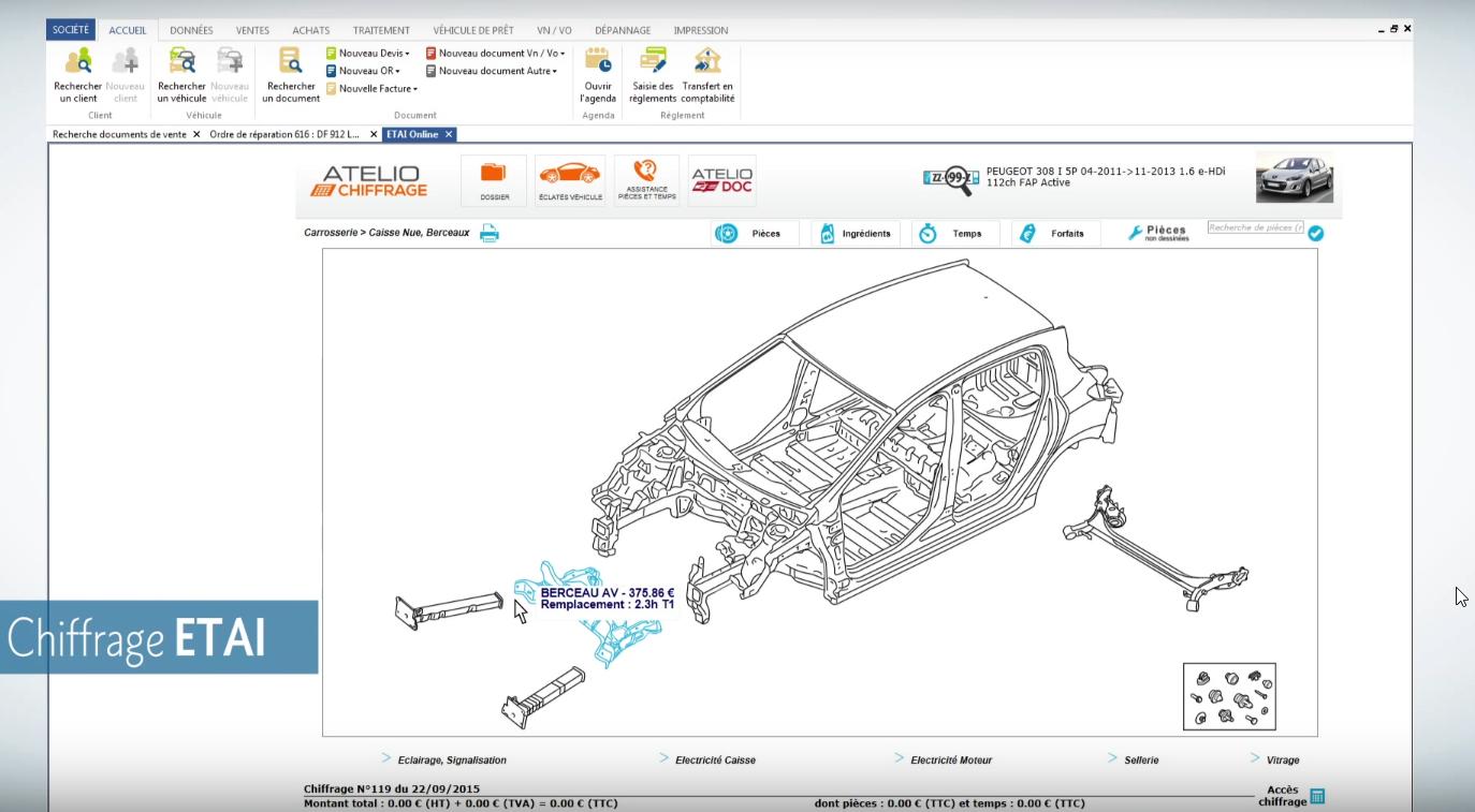 Capture d'écran EBP Auto Carrosserie