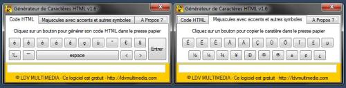 Capture d'écran Generateur de Code HTML
