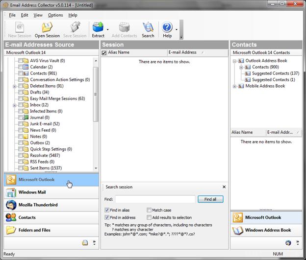 Capture d'écran Email Address Collector