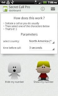 Capture d'écran Secret Call Pro : Appel masqué