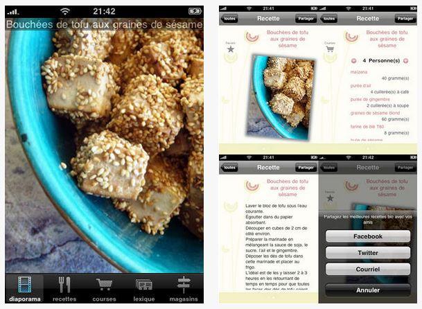 Capture d'écran Bio Cuisine iOS