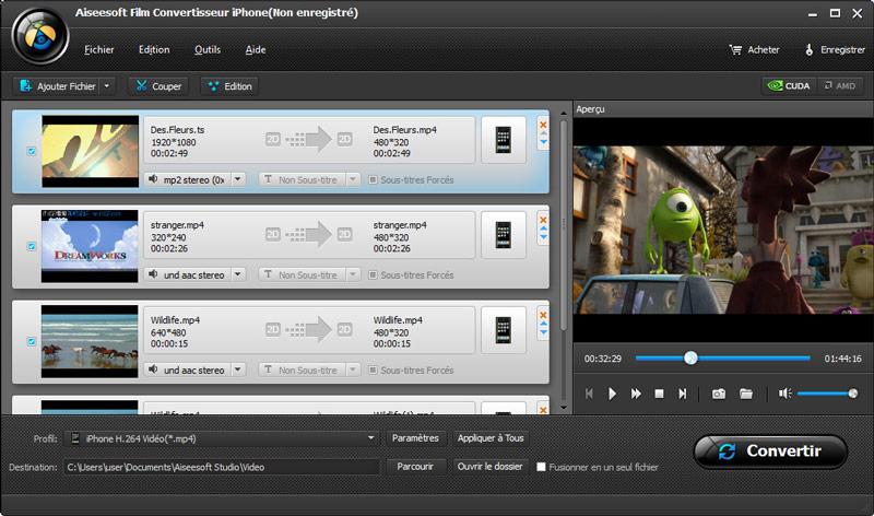 Capture d'écran Aiseesoft Film Convertisseur iPhone