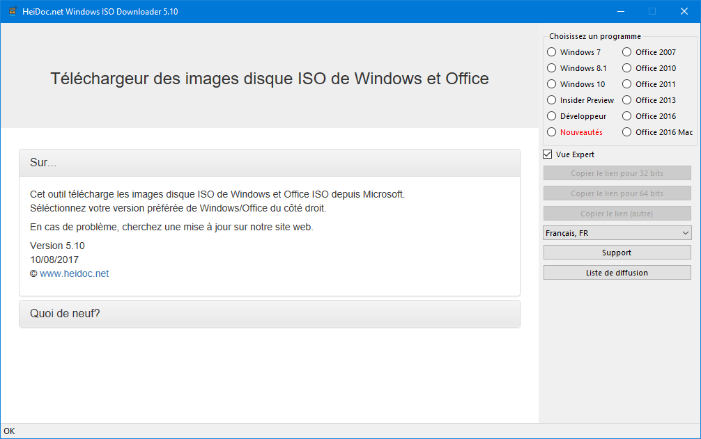 Capture d'écran Windows ISO Downloader