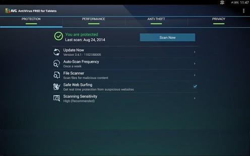 Capture d'écran Antivirus Gratuit – Tablettes