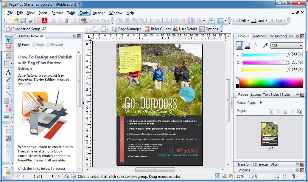 Capture d'écran PagePlus Starter Edition