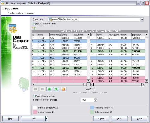 Capture d'écran EMS Data Comparer 2007 for PostgreSQL