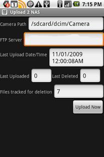 Capture d'écran Upload 2 NAS
