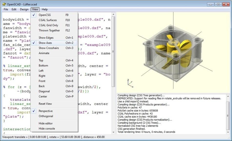 Capture d'écran OpenSCAD