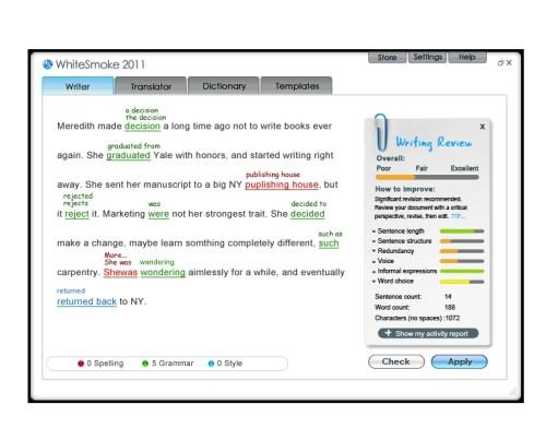 Capture d'écran WhiteSmoke Software