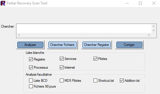 Capture d'écran Farbar Recovery Scan Tool