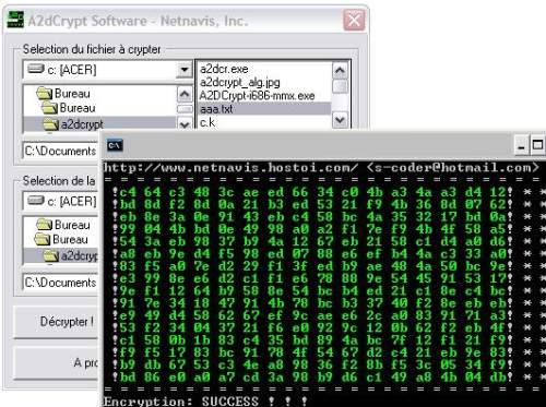 Capture d'écran A2DCrypt 2048 Bits Encryption