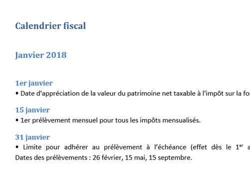 Capture d'écran Calendrier fiscal 2018 (Word)