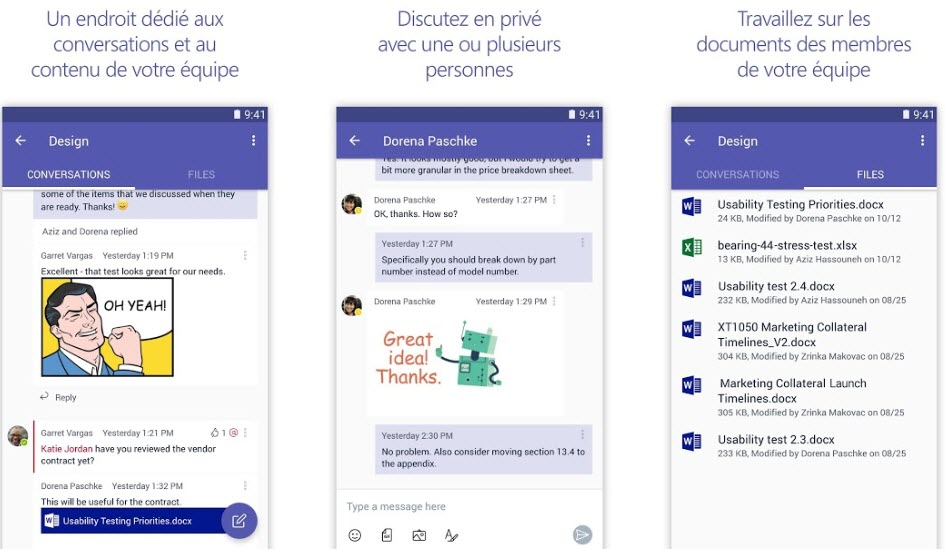 Capture d'écran Microsoft Teams Android