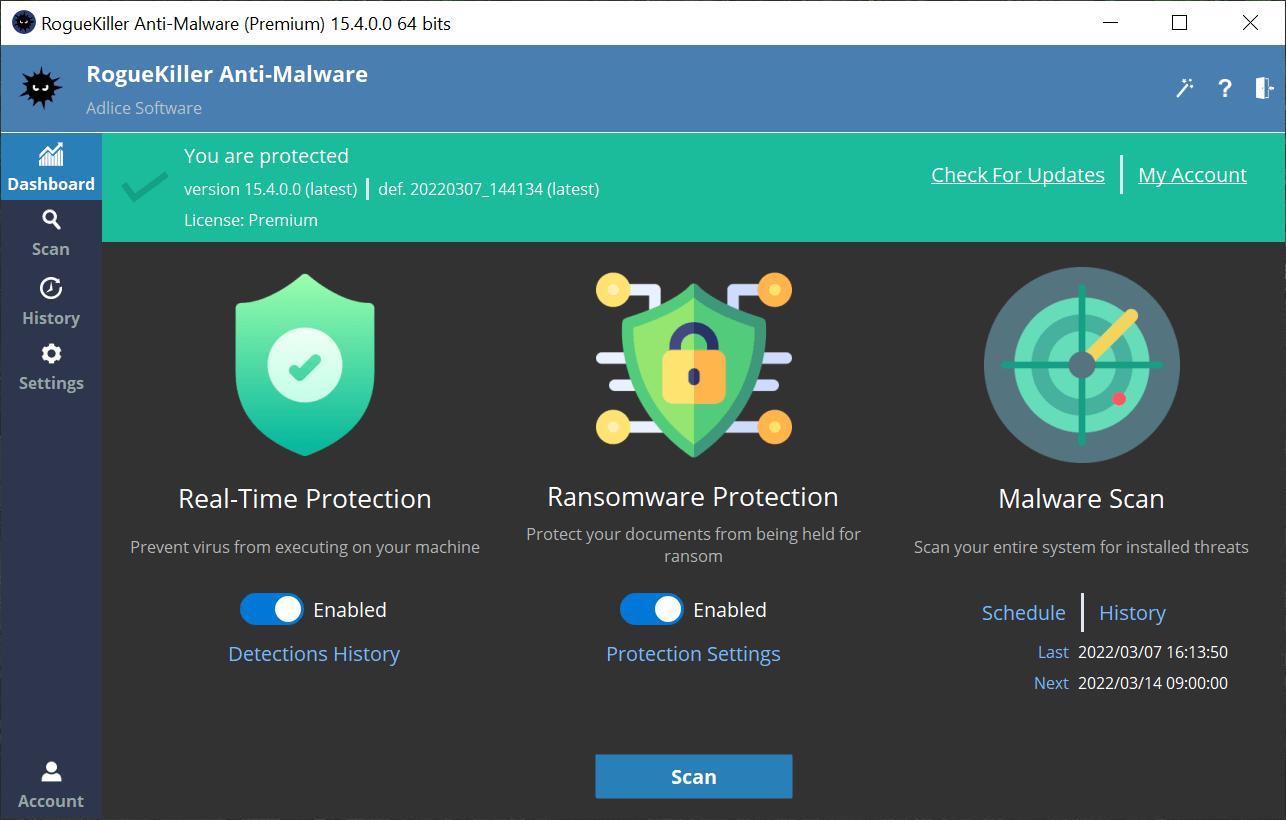 Capture d'écran RogueKiller Anti-Malware