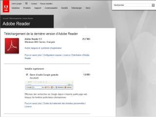 Capture d'écran Adobe Acrobat Reader