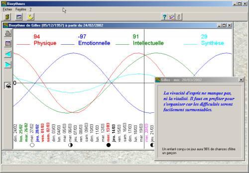 Capture d'écran Biorythmes