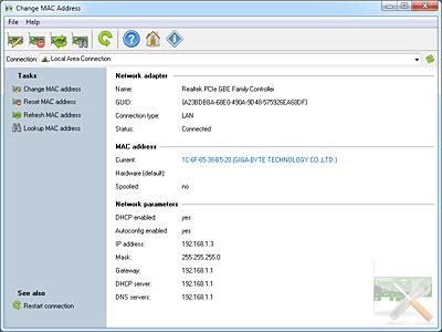 Capture d'écran Change MAC Address by LizardSystems