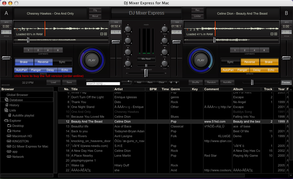 Capture d'écran DJ Mixer Express
