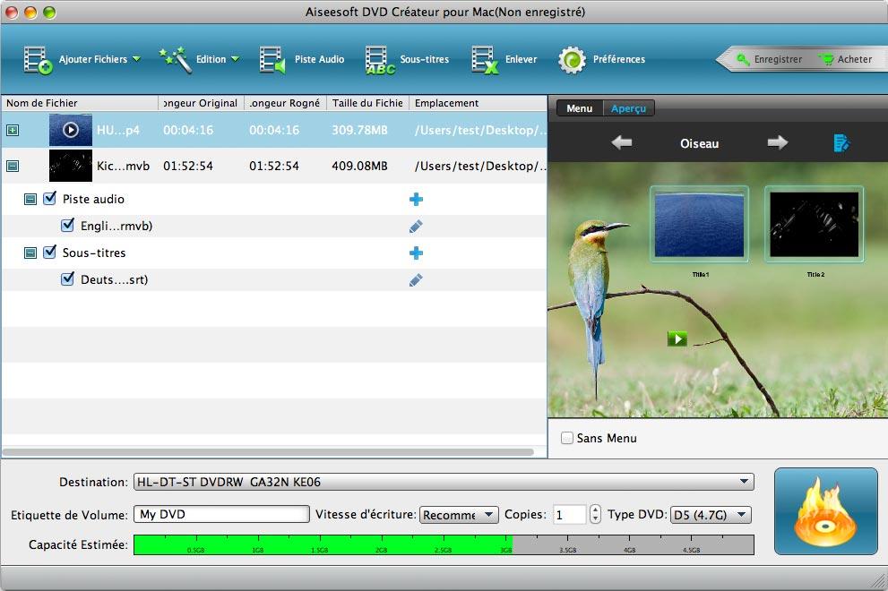 Capture d'écran Aiseesoft DVD Convertisseur Suite pour Mac