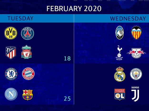 Capture d'écran Calendrier Ligue des champions Huitièmes de finale (2019-2020)