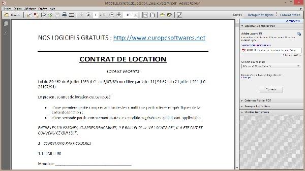 Capture d'écran Modèle de Contrat de Location