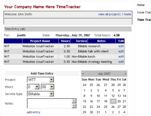 Capture d'écran Webolize TimeTracker