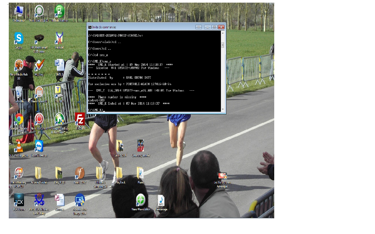 Capture d'écran SMS_E V6.001 MacOSX