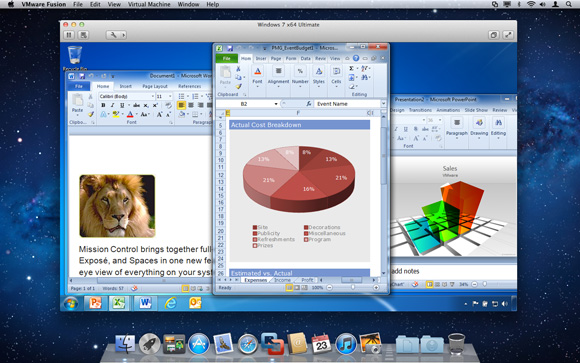 Capture d'écran Vmware Fusion 8