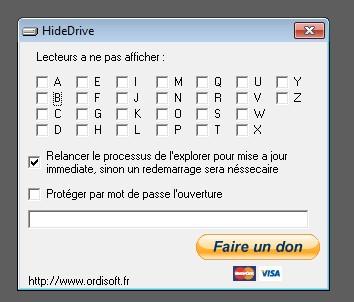 Capture d'écran HideDrive