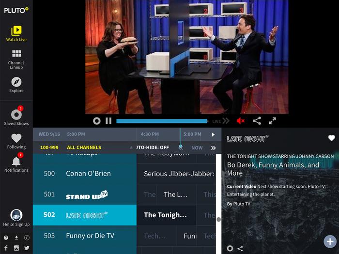 Capture d'écran PlutoTV