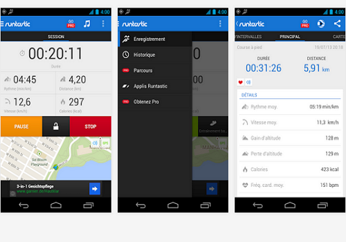 Capture d'écran Runtastic Android