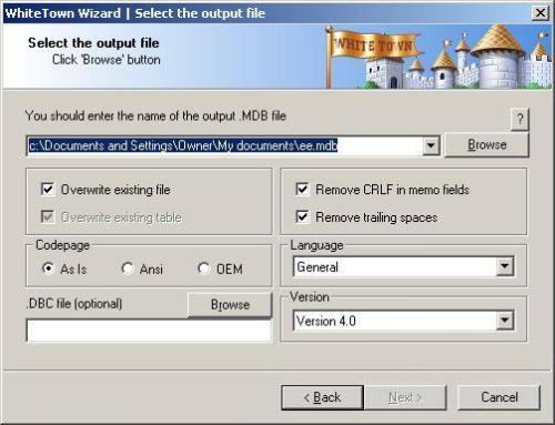 Capture d'écran DBF to MDB (Access)
