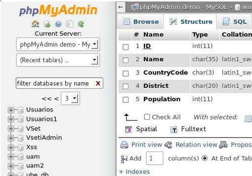 Capture d'écran phpMyAdmin