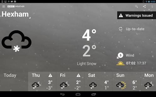 Capture d'écran BBC Weather
