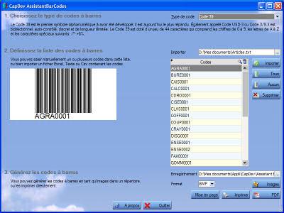 Capture d'écran Assistant Bar Codes