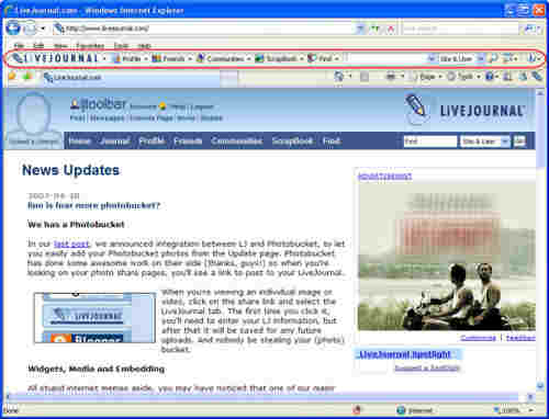 Capture d'écran LiveJournal Toolbar