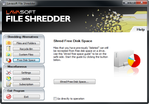 Capture d'écran File Shredder