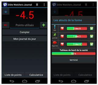 Capture d'écran Journal Diète Watchers Android