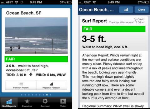 Capture d'écran Surfline iOS