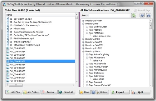 Capture d'écran FileTagSleuth