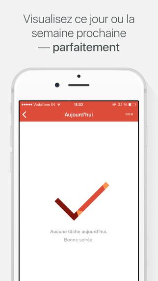 Capture d'écran Todoist : Liste des tâches iOS