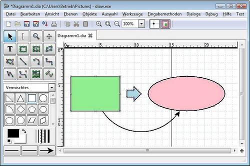 Capture d'écran Dia Diagram Editor
